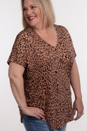 Pink Leopard V-Neck Top XL-2X-MTS-9Lilas