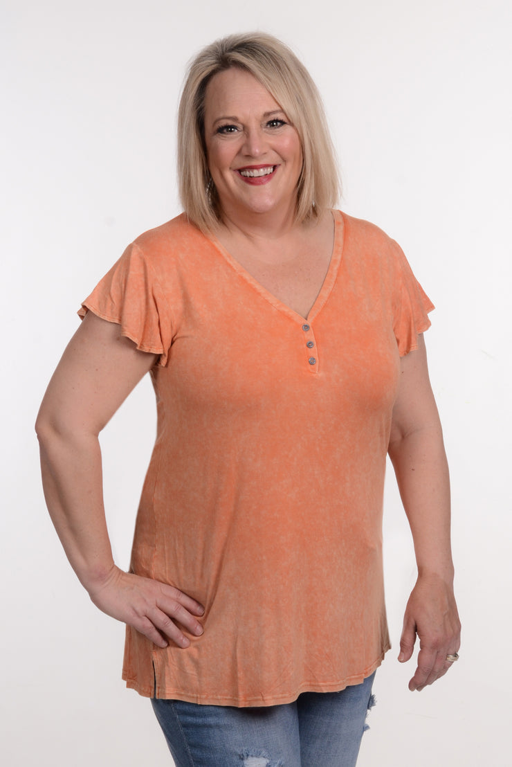 Orange Ruffle Sleeve Top 1X-3X-L Love-9Lilas