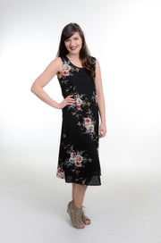 Black Floral Layered Slit Dress S-2X-Dress-9Lilas