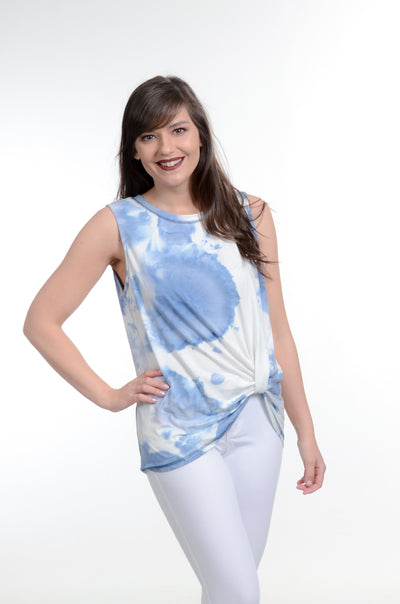 Blue Tie-Dye Side Twist Tank S-L-Tank-9Lilas