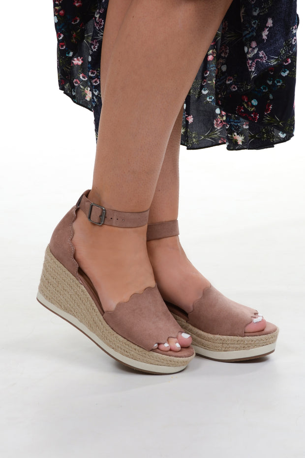 Mauve Scalloped Wedge Sandal