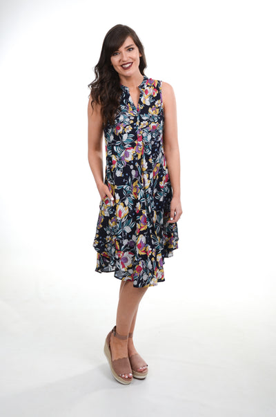 Navy Floral Tank Dress S-2X-PAPILLON-9Lilas