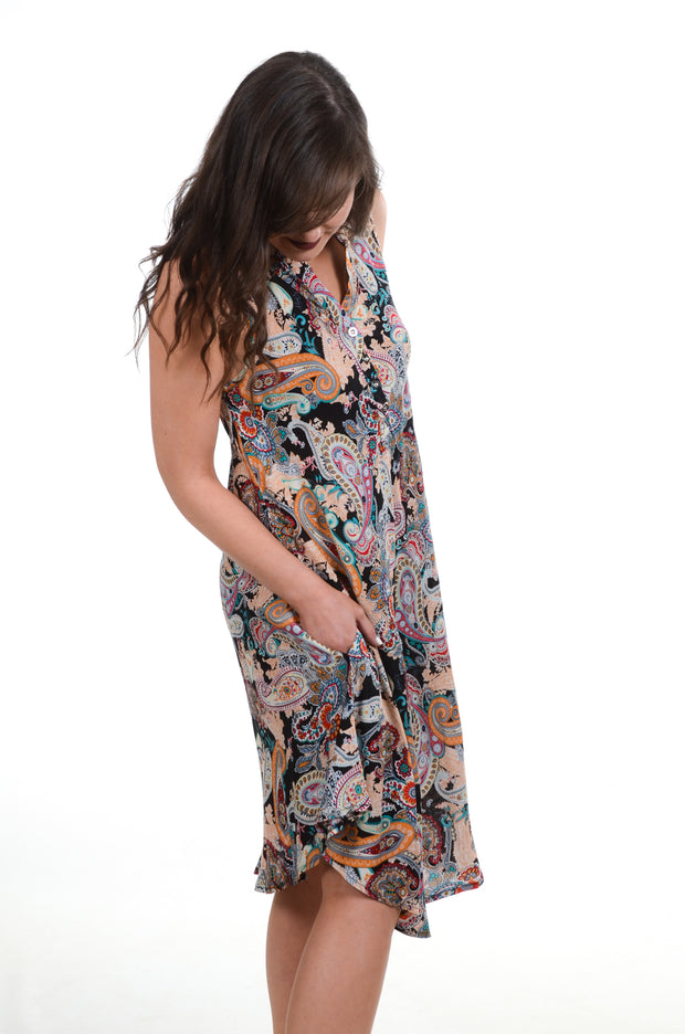 Black Paisley Tank Dress S-XL-PAPILLON-9Lilas