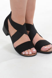 Black Strap Heeled Sandal
