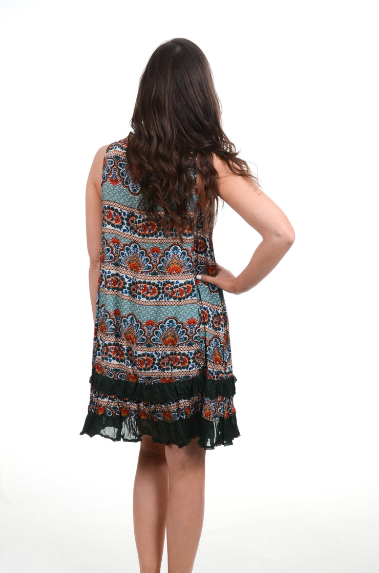Green Paisley & Floral Ruffle Hem Dress S-2X-PAPILLON-9Lilas