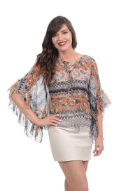 Mustard Floral Cropped Poncho Top S-XL-PAPILLON-9Lilas