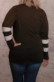Black Athletic Stripe Sleeve Knotted Top S-2X