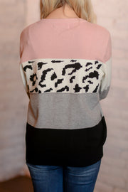 Blush Leopard Color Block Sweater S-XL