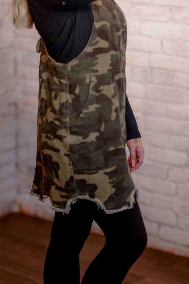 Camo Distressed Skirt Overalls S-3X