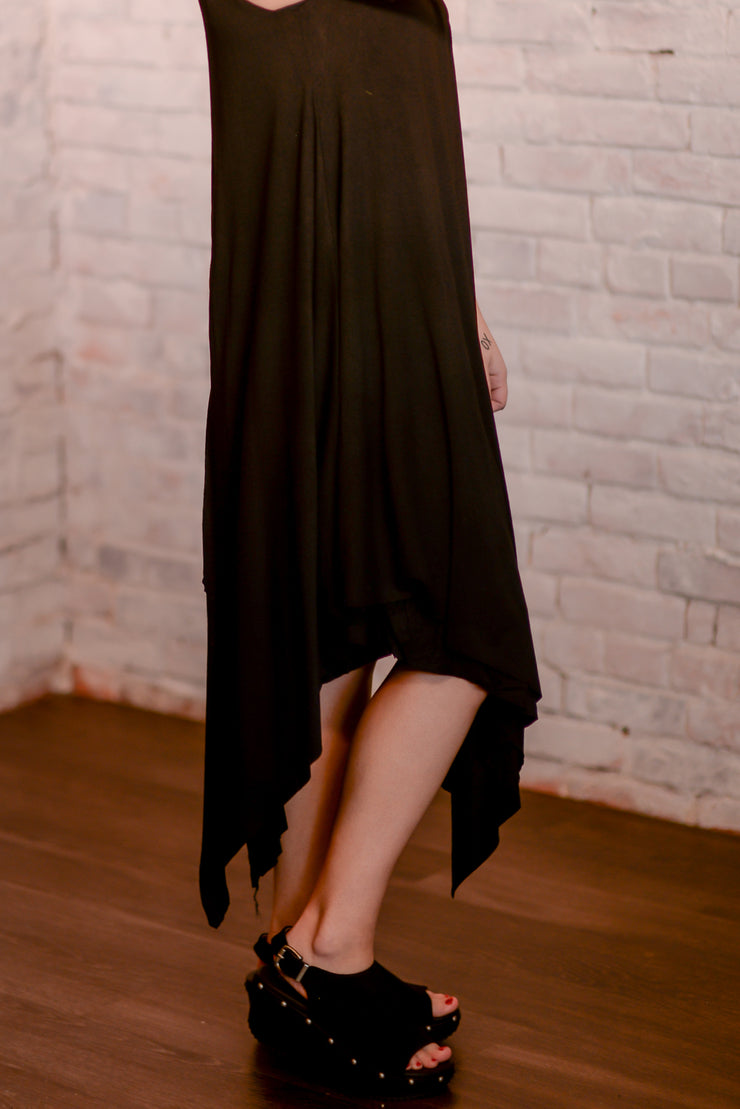 Black Jersey Layered Maxi Dress S-2X