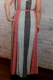 Multi Print Paneled Tie Maxi Dress 1X-3X