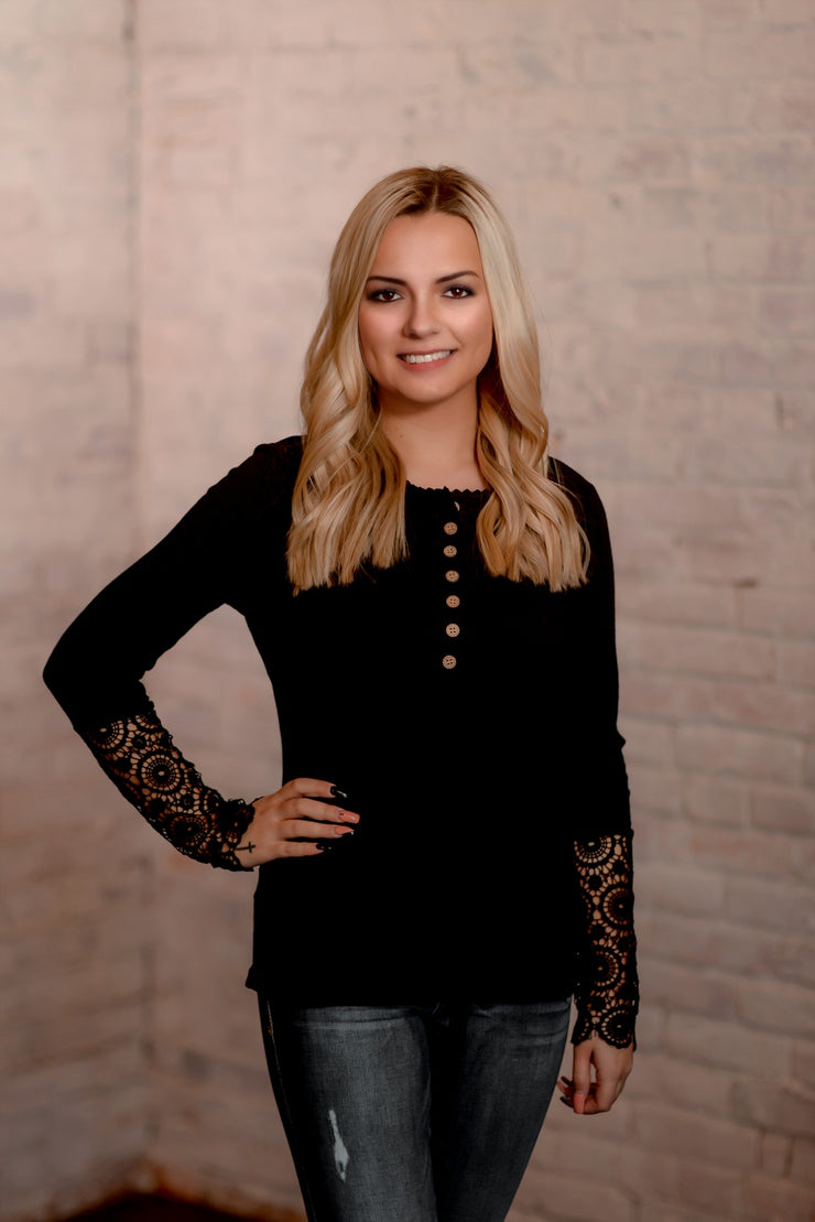 Black Crochet Sleeve Ribbed Top S-2X