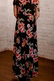 Black Floral Wrap Dress S-3X
