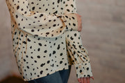 Dalmatian Print High Neck Blouse S-2X