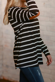 Striped Elbow Patch Button Back Top S-2X