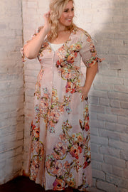 Mauve Floral Button Down Midi Dress 1X-3X