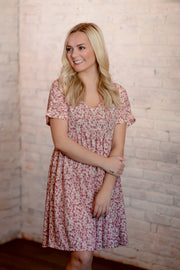 Pink Floral Babydoll Dress S-3X
