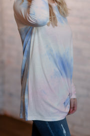 Pastel Tie-Dye Side Knot Top S-2X