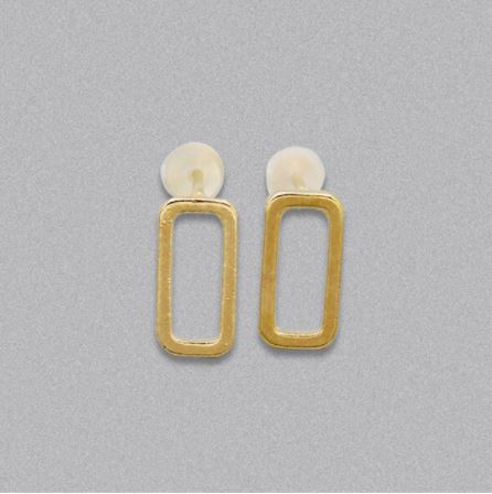 Open Rectangle Stud Earrings