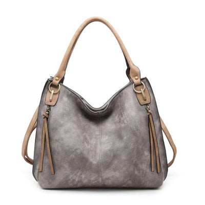 Distressed Side Pocket Tote-Purse-Jen & Co.-Gray-9Lilas