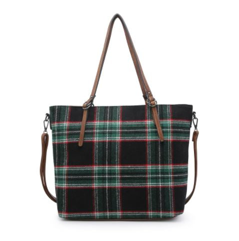 Green Plaid Zipper Tote
