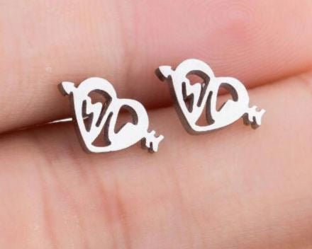 Heart Rate Stud Earrings