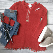 Rust Shredded Hem Sweater