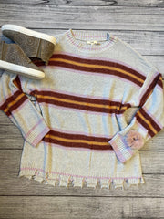 Striped Distressed Sweater-Sweater-Easel-Small-9Lilas