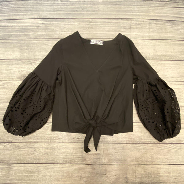 Black Eyelet Bubble Sleeve Top
