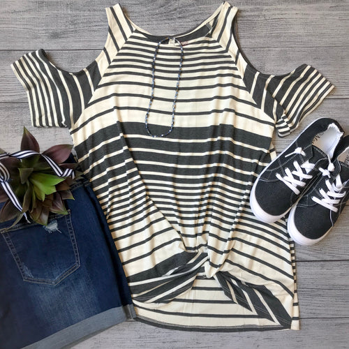 Twist Hem Striped Cold Shoulder Top