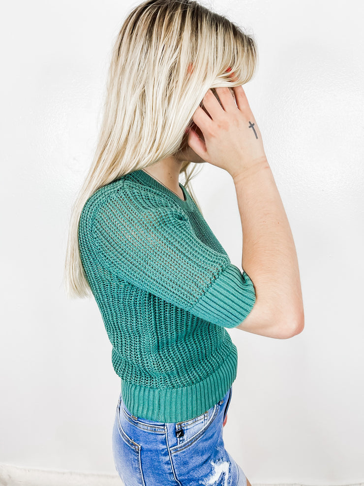 Teal Knit Short Sleeve Sweater
