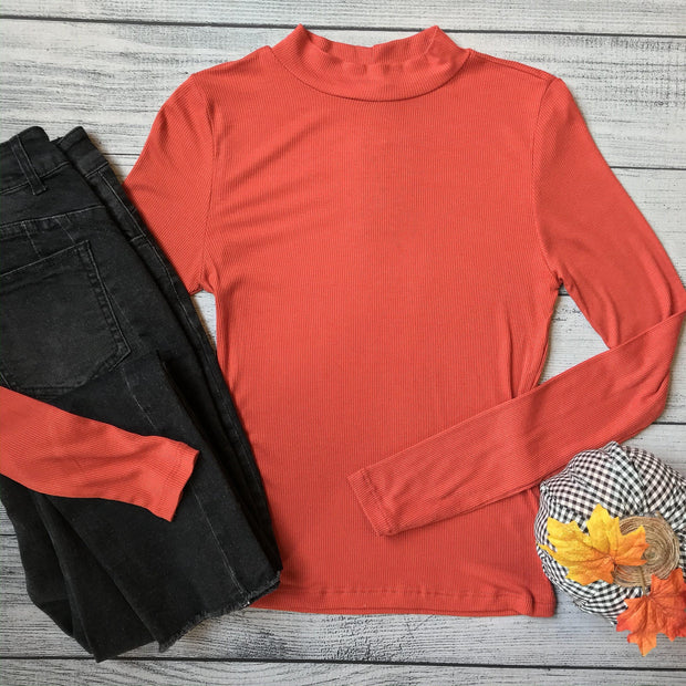 Rust Mock Neck Top