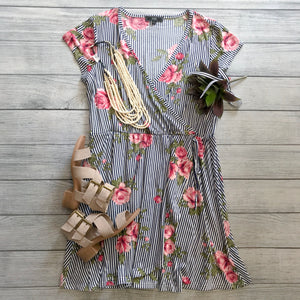 Wrap Dress in Floral-Stripes