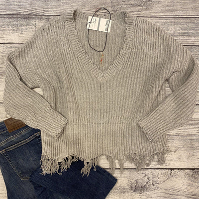 Cropped Distressed Sweater