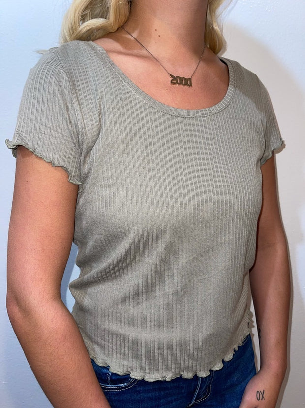 Sage Lettuce Ribbed Crop Top