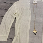 Light Knit Cardigan-Cardigan-L Love-1X-Ivory-9Lilas