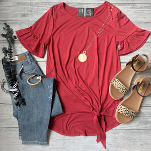 Red Ruffle Sleeve Front Tie Top