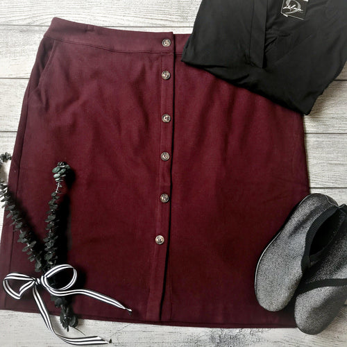 Dark Burgundy Corduroy Skirt