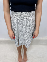 Off White Ditsy Floral Skirt