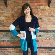 Navy Color Block Cardigan