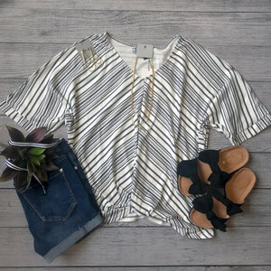 Front Tucked Stripe Top