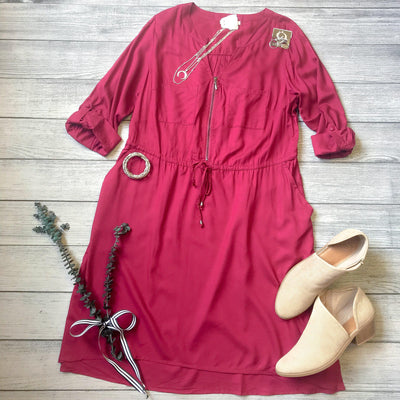 Sangria Zipper & Tie Dress