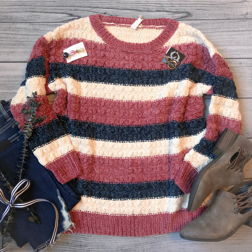 Chenille Chevron Knit Sweater