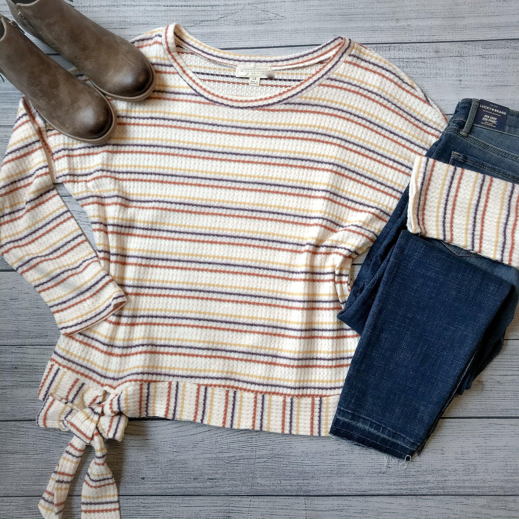 Striped Waffle Tie Top