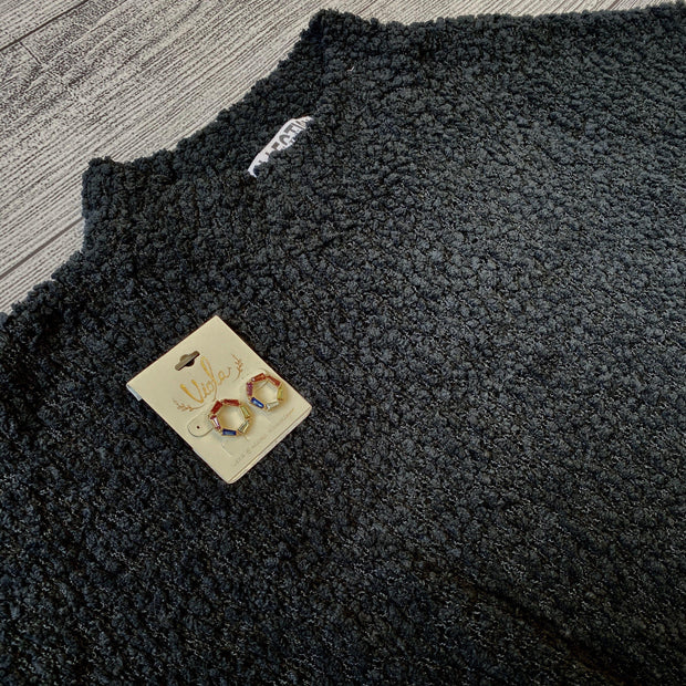 Black Popcorn Sweater