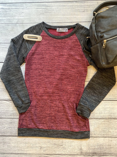 Burgundy Raglan Pullover-Top-Mooi Nu Collection-XS-9Lilas