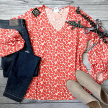 Orange Floral Balloon Sleeve Top