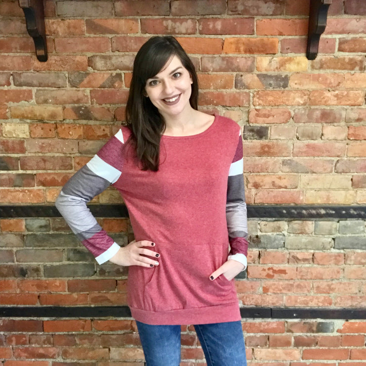 Brick Red & Striped Sleeve Top