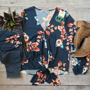 Orange Floral Tie Blouse