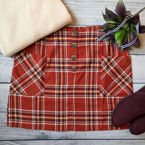 Rust Plaid Button Skirt
